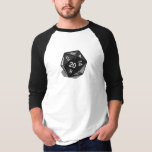 Two Pips - Black D20 3/4 Sleeve T-shirt