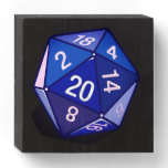 Two Pips - Blue D20 Wall Art Wooden Box Sign