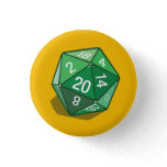 Two Pips - Green D20 Button