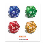 Two Pips  -  Multi-Colored D20 Dice Sticker
