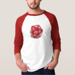Two Pips - Red D20 3/4 Sleeve T-shirt