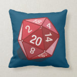 Two Pips - Red D20 Pillow