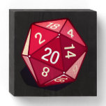 Two Pips - Red D20 Wall Art Wooden Box Sign